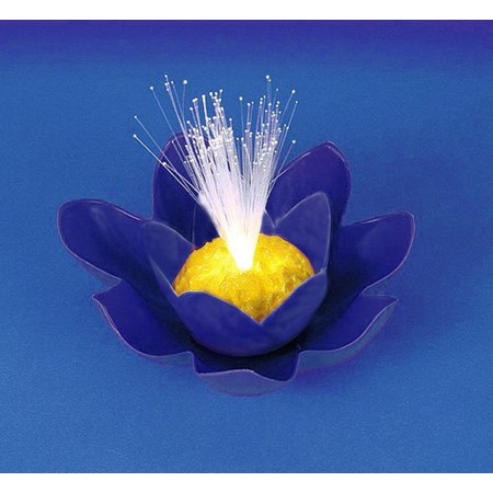 7 blue battery operated fiber optic floating lily flower for Pool light show walmart