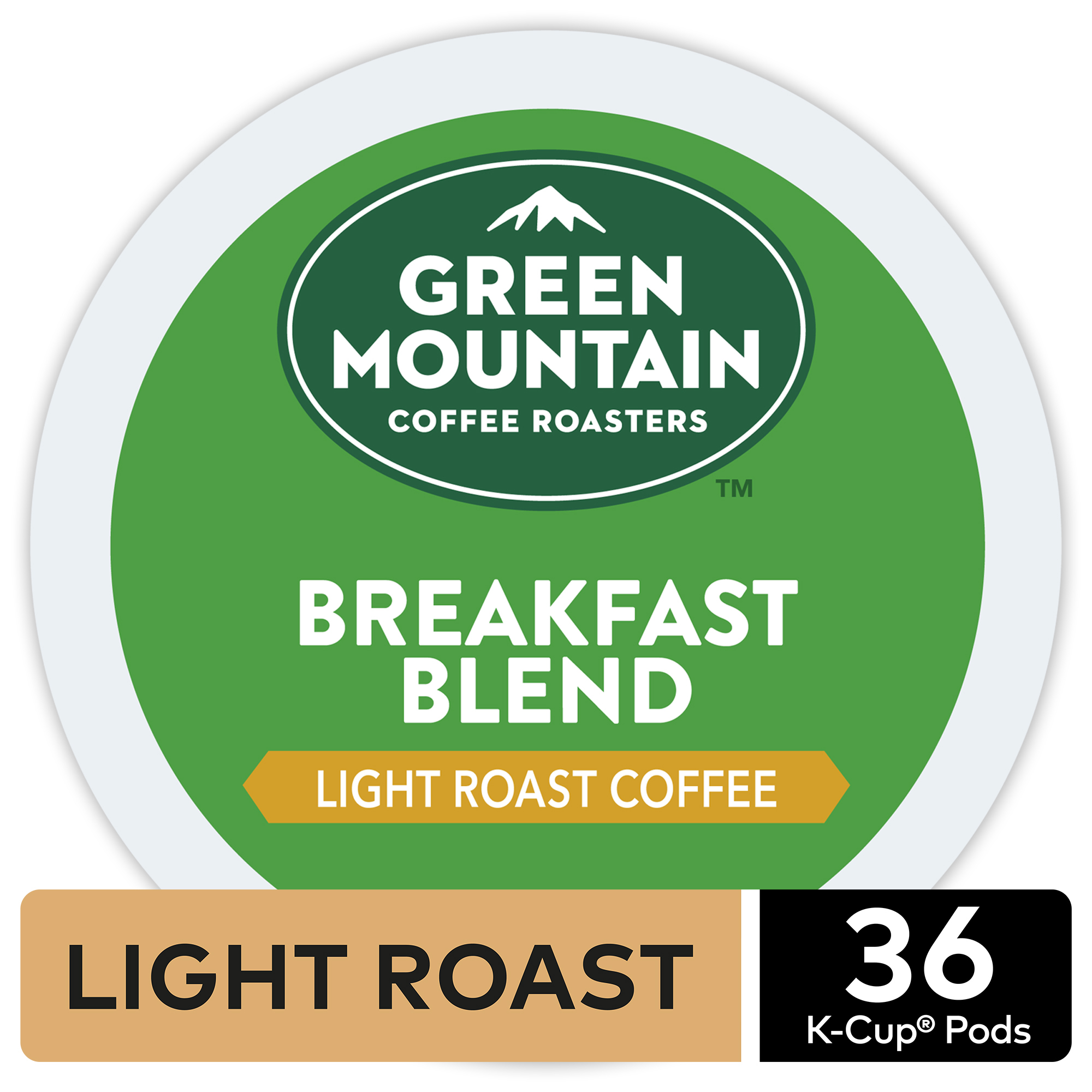 Green Mountain Coffee Breakfast Blend, Keurig K-Cup Pods, Light Roast Coffee, 36 Count