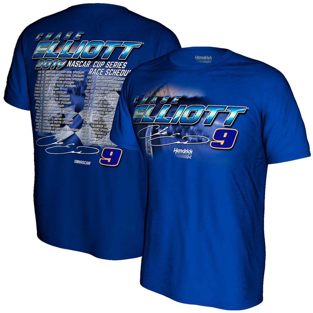 Chase Elliott Hendrick Motorsports Team Collection 2019 NASCAR Cup Series Schedule T-Shirt - Royal