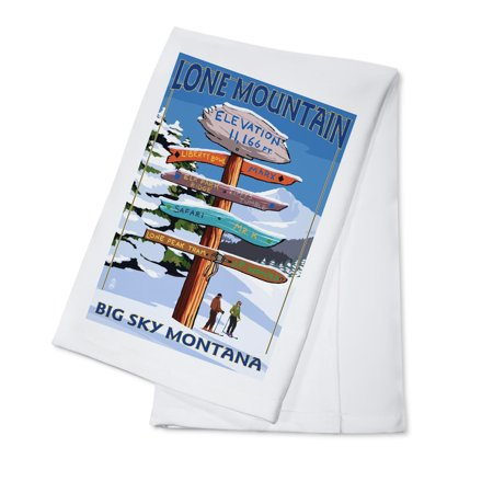 Big Sky, Montana - Lone Mountain - Ski Destinations Sign- Lantern Press Artwork (100% Cotton Kitchen