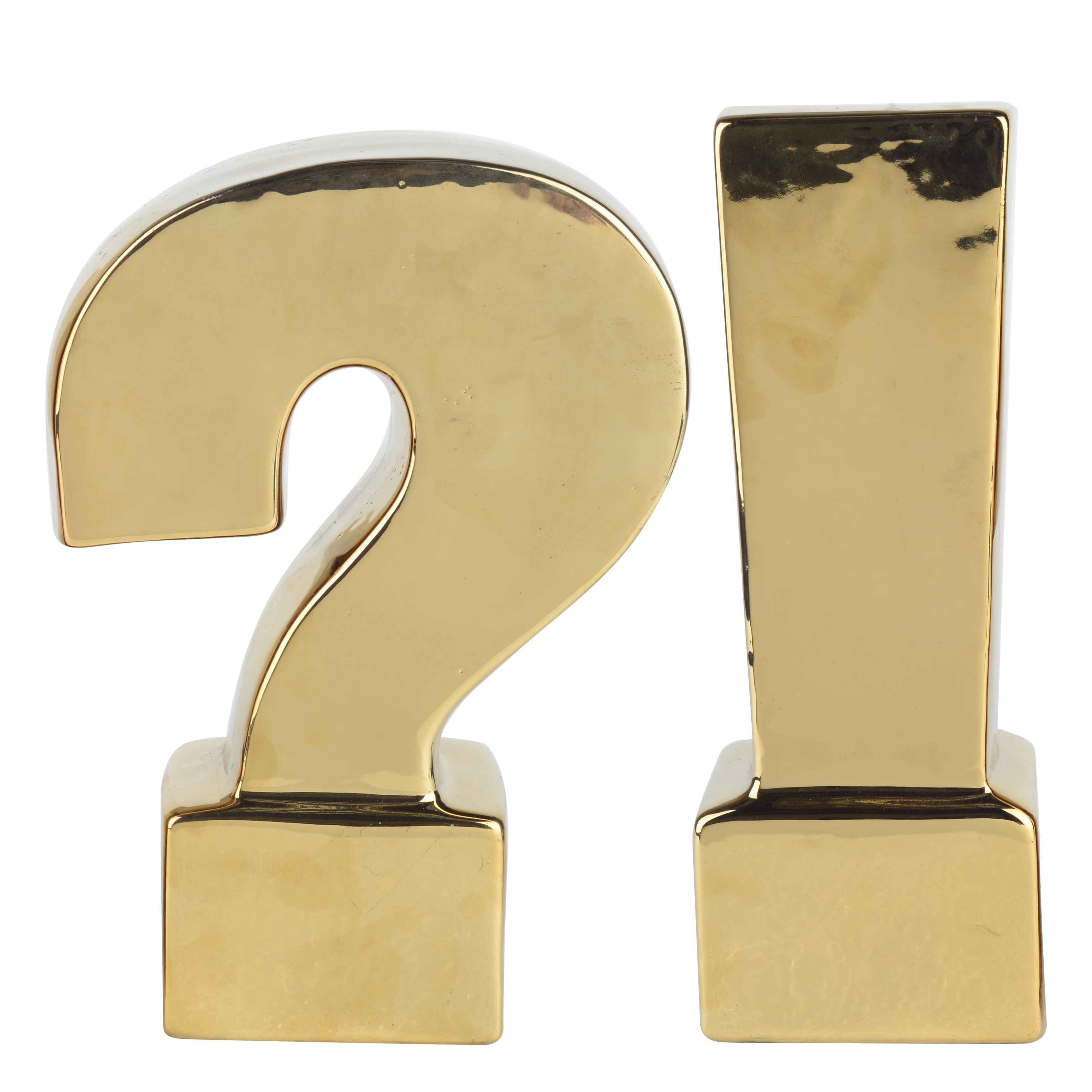 A&B Home Question & Exclamation Mark Bookends, Gold, Set of 2