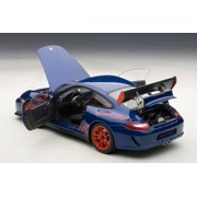 Porsche 911 (997) GT3 RS 3 8 Aqua Blue Metallic With Guards Red Stripes  1/18 Diecast Car Model by Autoart