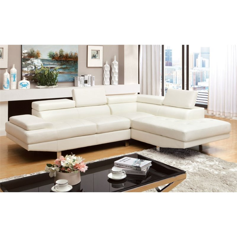 Furniture of America Jetli Leather Tufted Sectional in White