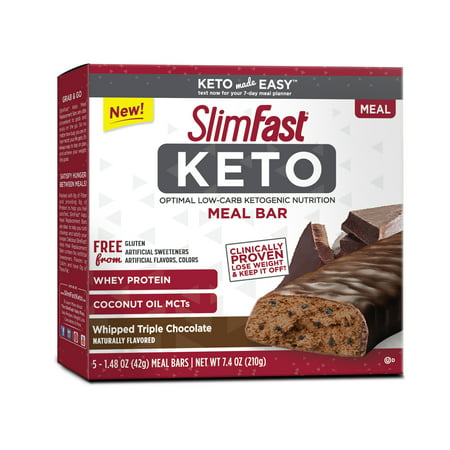 SlimFast Keto Meal Replacement Bar, Whipped Triple Chocolate, 1.48oz., Pack of