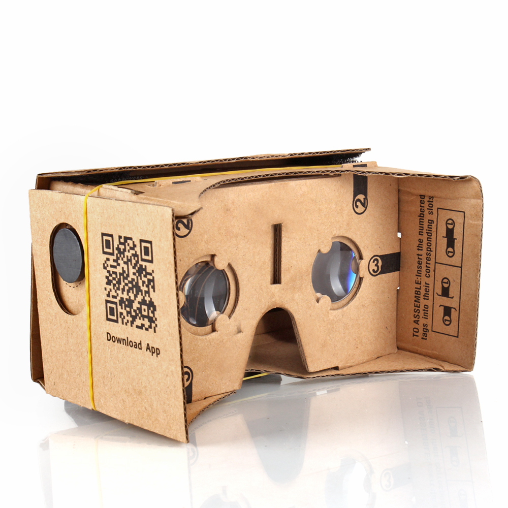 Google Cardboard Virtual Reality Glasses w/ Strap VR Headset 3D Viewer Compatible with iPhone & Android Smartphone Up to 5 Inch, 25mm Lenses Machine Cut Quality Construction Easy Setup DIY Kit
