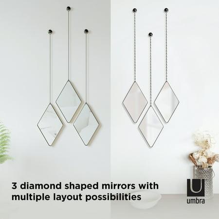 Umbra Dima Diamond Mirrors Set Of 3, Dima Round Accent Mirror Set