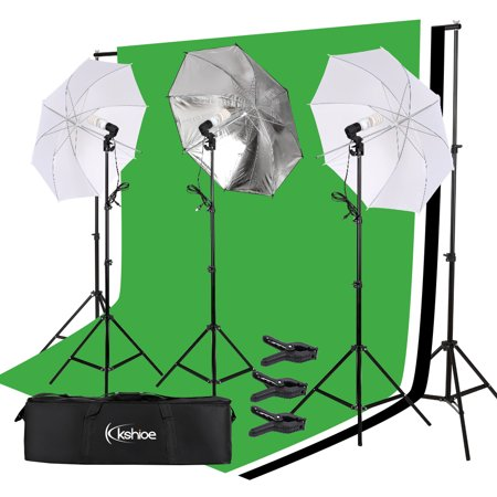 UBesGoo Photo Studio Photography Kit 3 Light Bulb Umbrella Backdrop Stand Set (Photo Stand In)