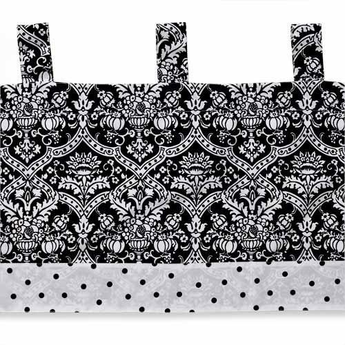 Seed Sprout - Damask Window Valance, Black and White
