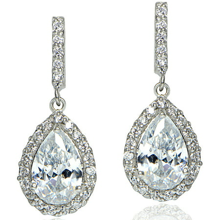 - CZ Sterling Silver Teardrop Dangle Earrings