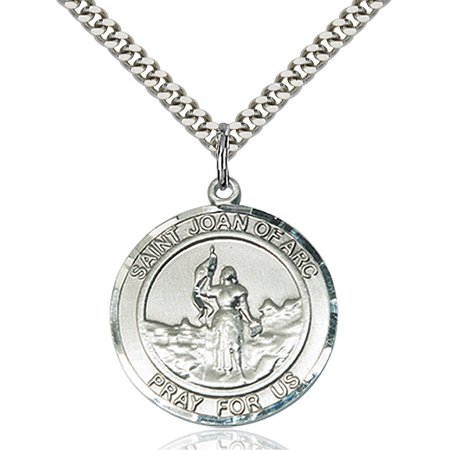 Sterling Silver St. Joan of Arc Pendant 1 x 5/8 inches with Heavy Curb (Arc Pendant)