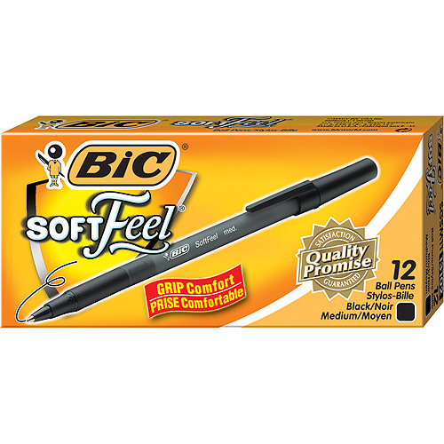 BIC Soft Feel Stick Ball Pen, Medium, Black, 1-Dozen