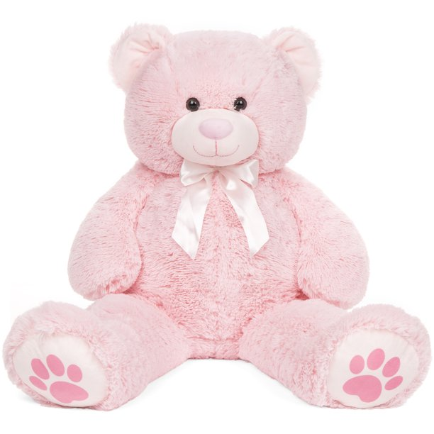 Baby Net For Stuffed Animals, Best Choice Products 38in Giant Soft Plush Teddy Bear Stuffed Animal Toy W Red Bow Tie Footprints Pink Walmart Com Walmart Com