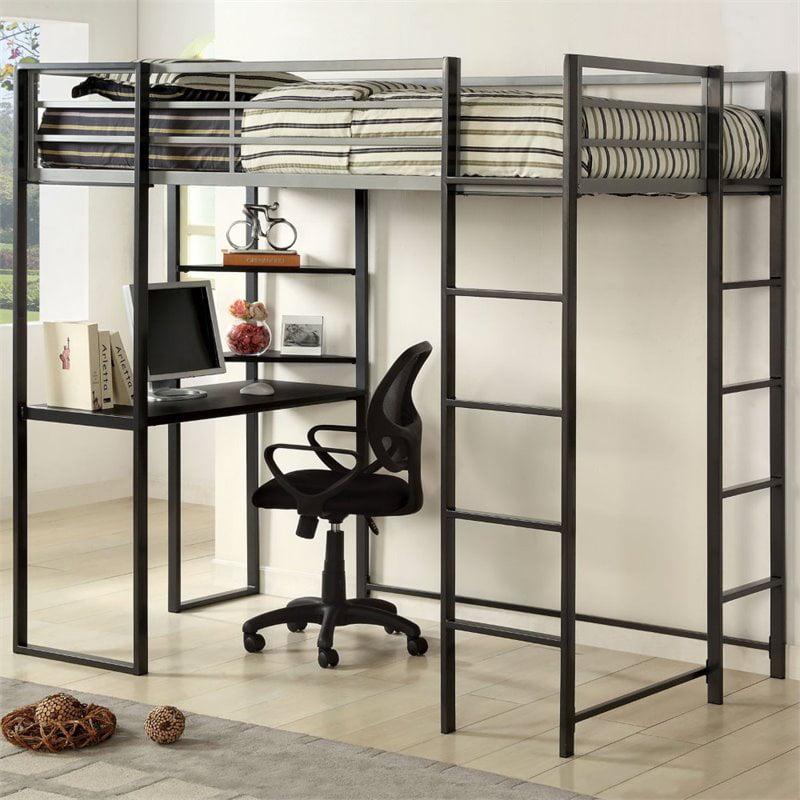 Furniture of America Mattelius Twin Loft Bed in Silver and Gun Metal