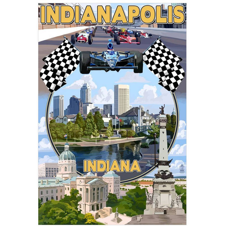 Indianapolis, Indiana - Montage Scenes: Retro Travel Poster by Eazl Cling