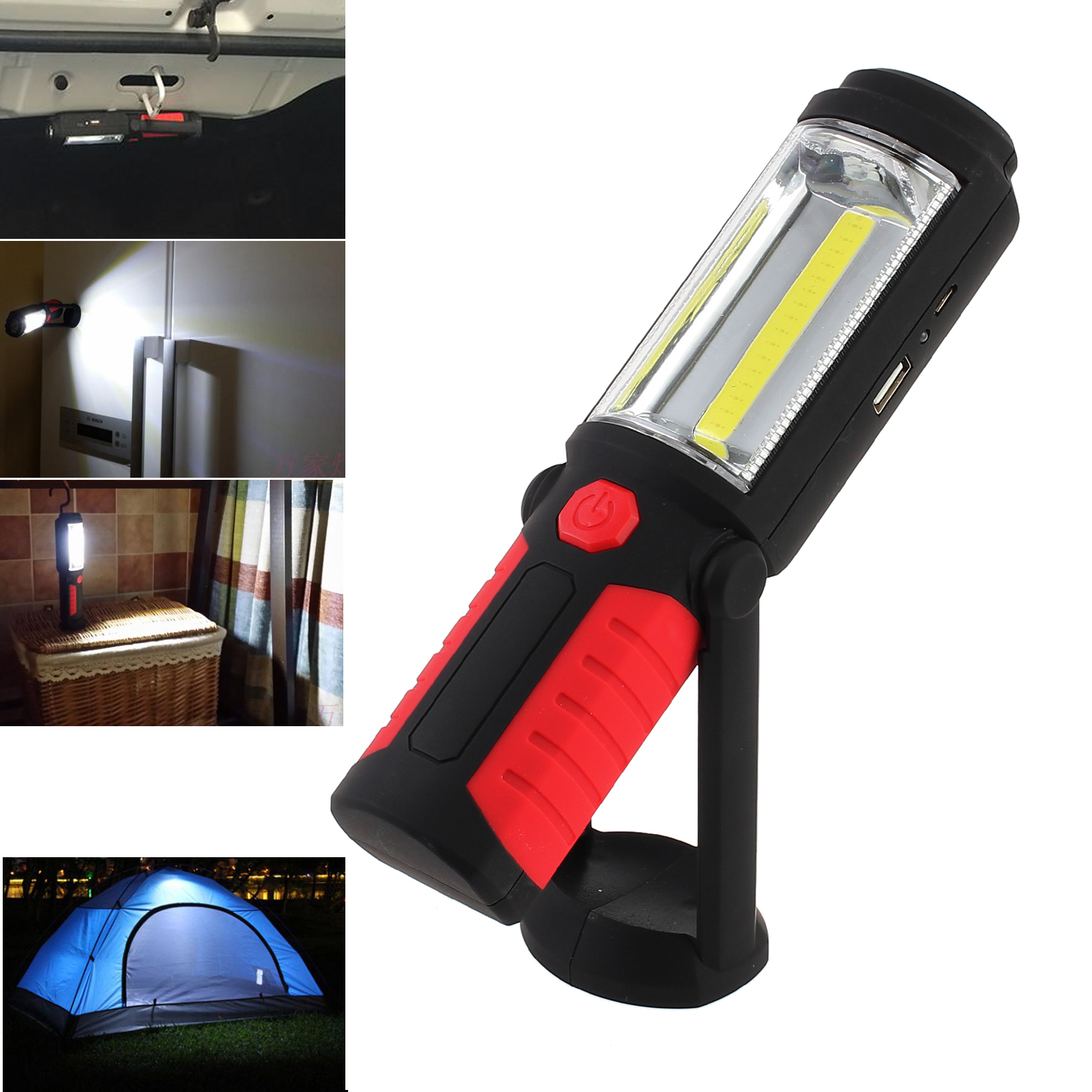 ESYNIC LED Work Light Torch COB Inspection Lamp USB Rechargeable Handheld Work Light Lamp Hand Torch Super Bright Magnetic LED Flashlight Torch Light Lamp for Camping Outdoor Emergency