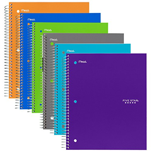Five Star Spiral Notebook, 1 Subject, 100 College Ruled Sheets - 6-Pack, Trend Colors