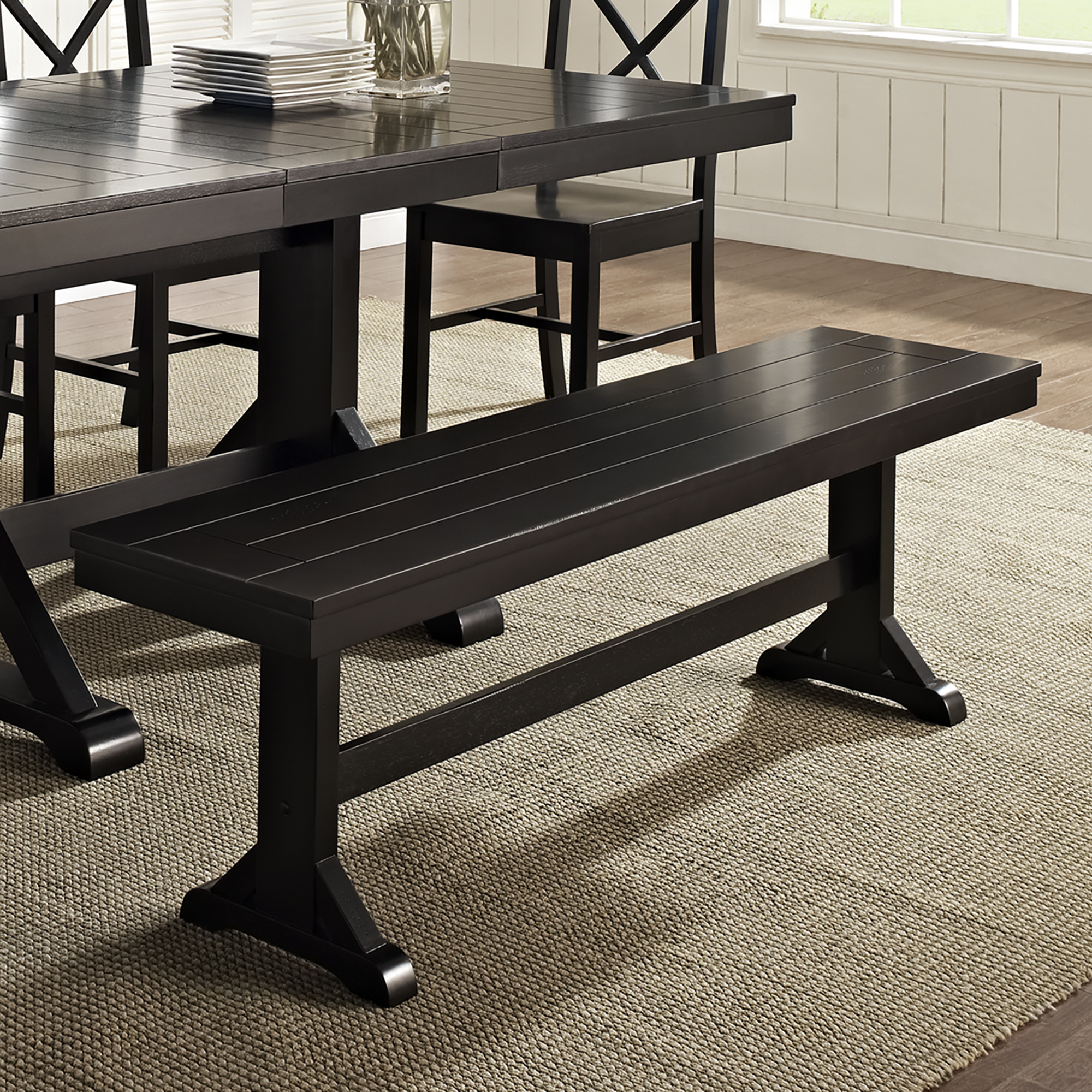 """60"""" Traditional Trestle Wood Entryway Dining Bench - Antique Black"""