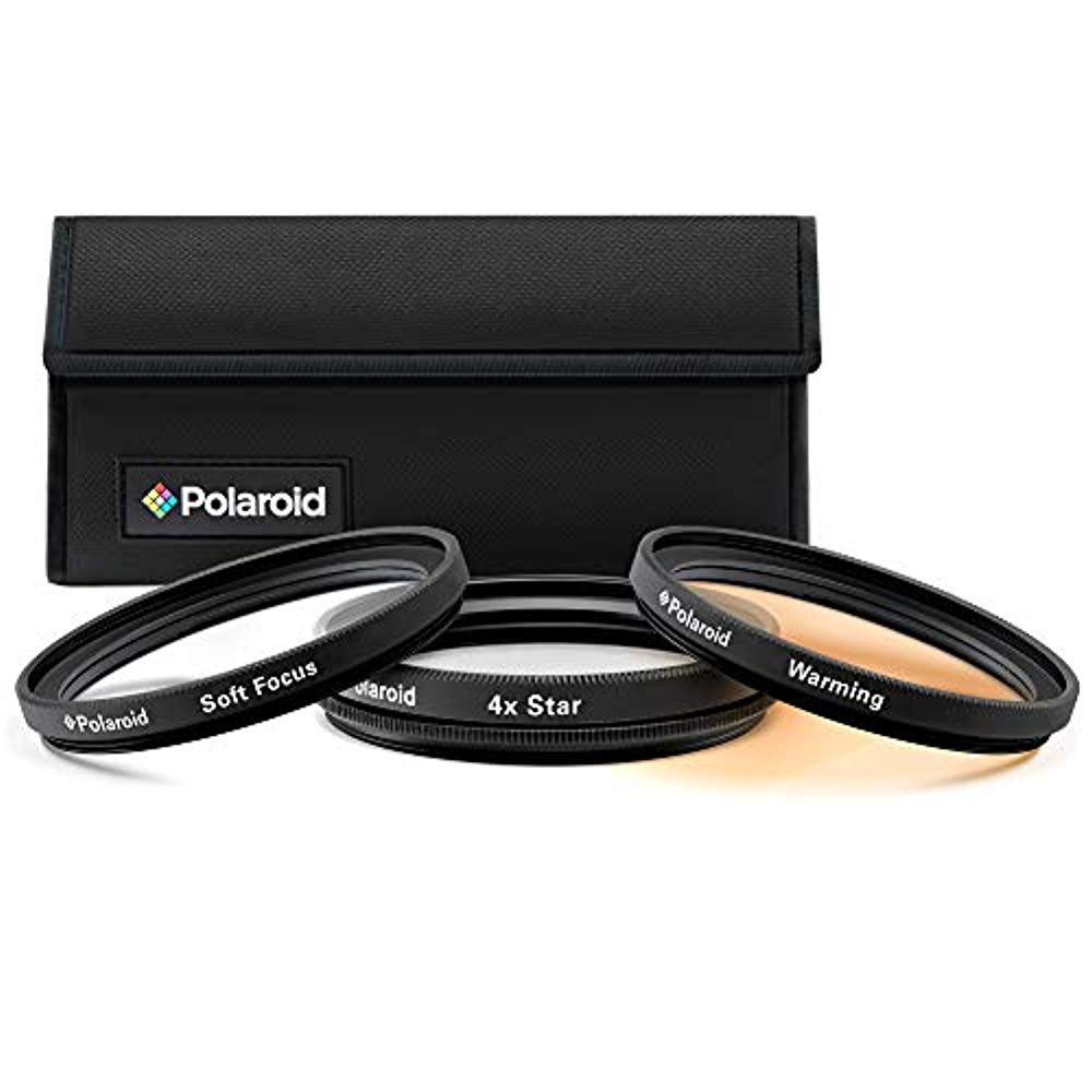 Polaroid Optics 55mm 3-Piece Special Effect Filter Kit Includes Soft Focus, 4 point Star Effect, Warming W/Nylon Carry Case – Compatible w/All Popular Camera Lens Models