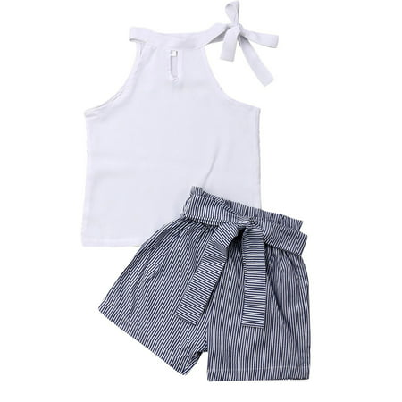 Pudcoco Kids Girl Solid White Sleeveless Lace-Up Tops Bow Striped Shorts Sets