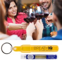 'Breath IQ' Breathalyzer Personal Blood Alcohol Level Tester Tubes, Choose Keychains or Refills, Fits in Pocket, Disposable