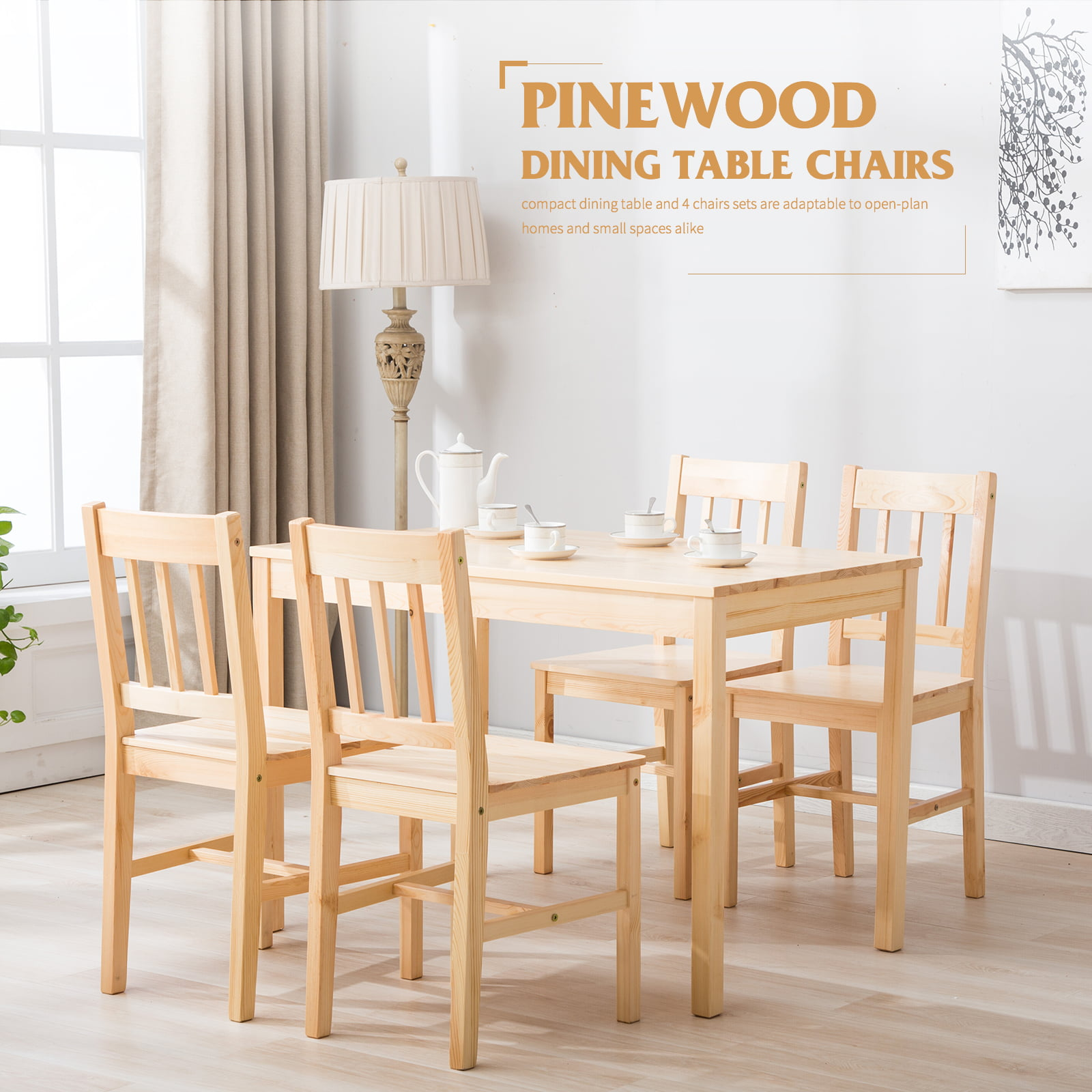 Image of: Mecor 5 Piece Kitchen Table Set Natural Pine Wood Table And 4 Chairs Walmart Com Walmart Com