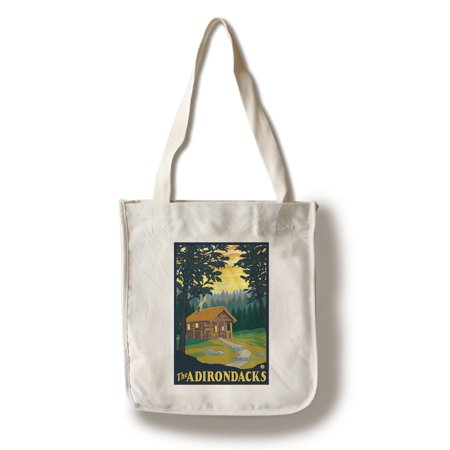 The Adirondacks   Cabin In The Woods   Lantern Press Original Poster  100  Cotton Tote Bag   Reusable