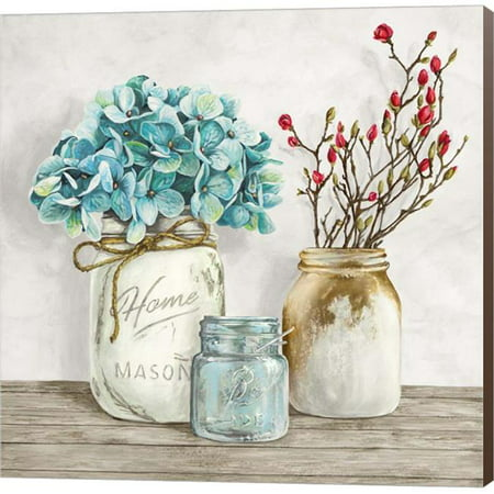 Metaverse C958743-0120000-YCCQAMA Floral Composition with Mason Jars I by Jenny Thomlinson Canvas Wall Art - 12 x 12 in. ()