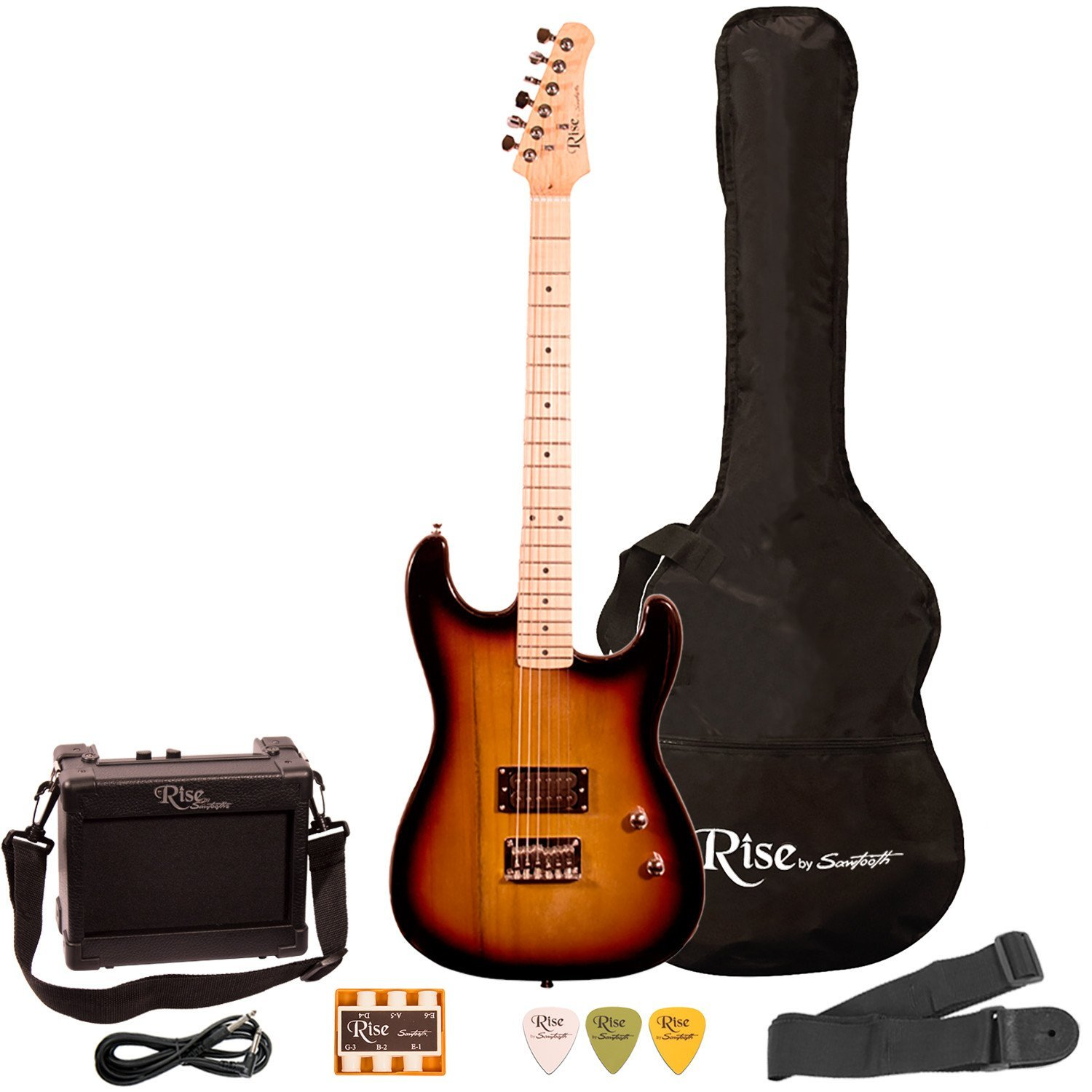 Rise by Sawtooth Right-Handed 3/4 Size Beginner's Electric Guitar with Gig Bag & Accessories, Sunburst