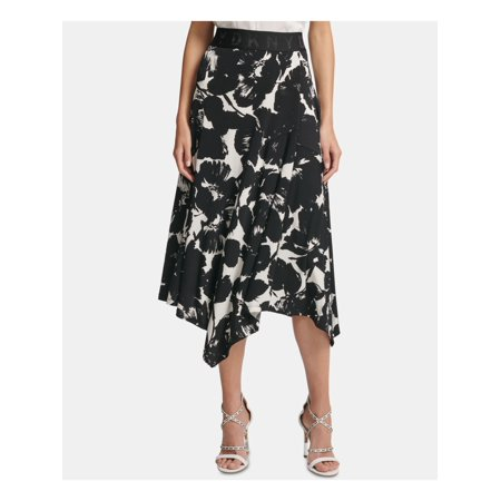 DKNY Womens Black Floral Below The Knee Pleated Party Skirt  Size: XL