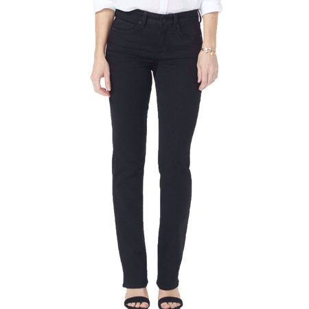 NYDJ Womens Marilyn Straight Jeans Black