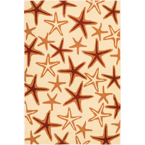 Couristan Beachfront Starfish Rug In Ivory-Coral - (2 Foot x 4 Foot)