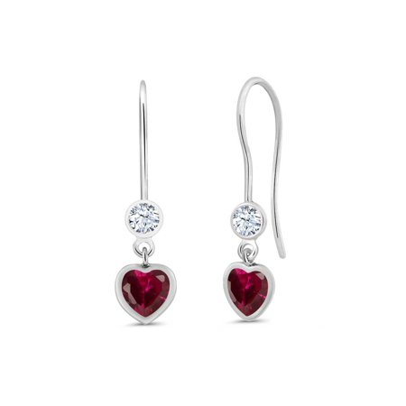 1.42 Ct Heart Shape Red Created Ruby 925 Sterling Silver (Red Heart Earrings)