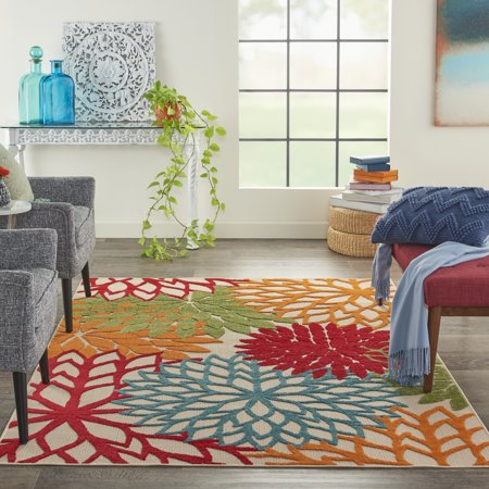 Nourison Aloha Indoor-outdoor Floral Green Area Rug ()