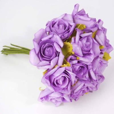 72 Artificial Silk Roses Bouquet Wedding Vase Centerpiece Decor - Lavender - Lavender Centerpieces