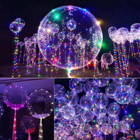 5pcs LED Light Up Bobo Balloons, Latex Clear Transparent Round Bubble Colorful Flash String Decorations Wedding Room Courtyard Kids Birthday Party Set Glow Christmas