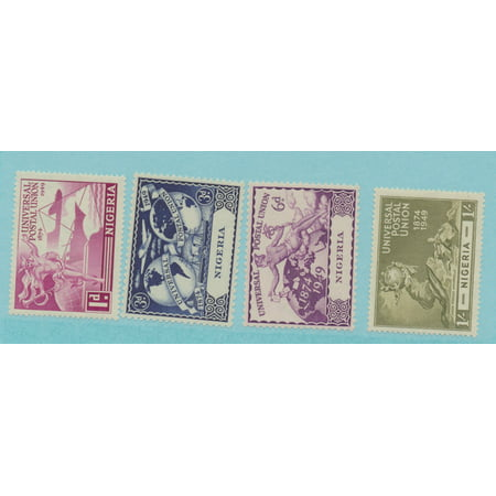 Nigeria Scott #75 To 78, Four Stamp UPU (Universal Postal Union) Complete Set, British Commonwealth Common Design Issue From 1949, Collectible Postage Stamps Collectible Postal Stamp