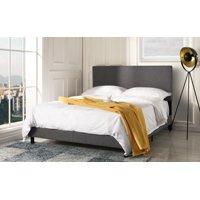 Mobilis Deluxe Linen Fabric Upholstered Platform Bed, Dark Grey, QUEEN
