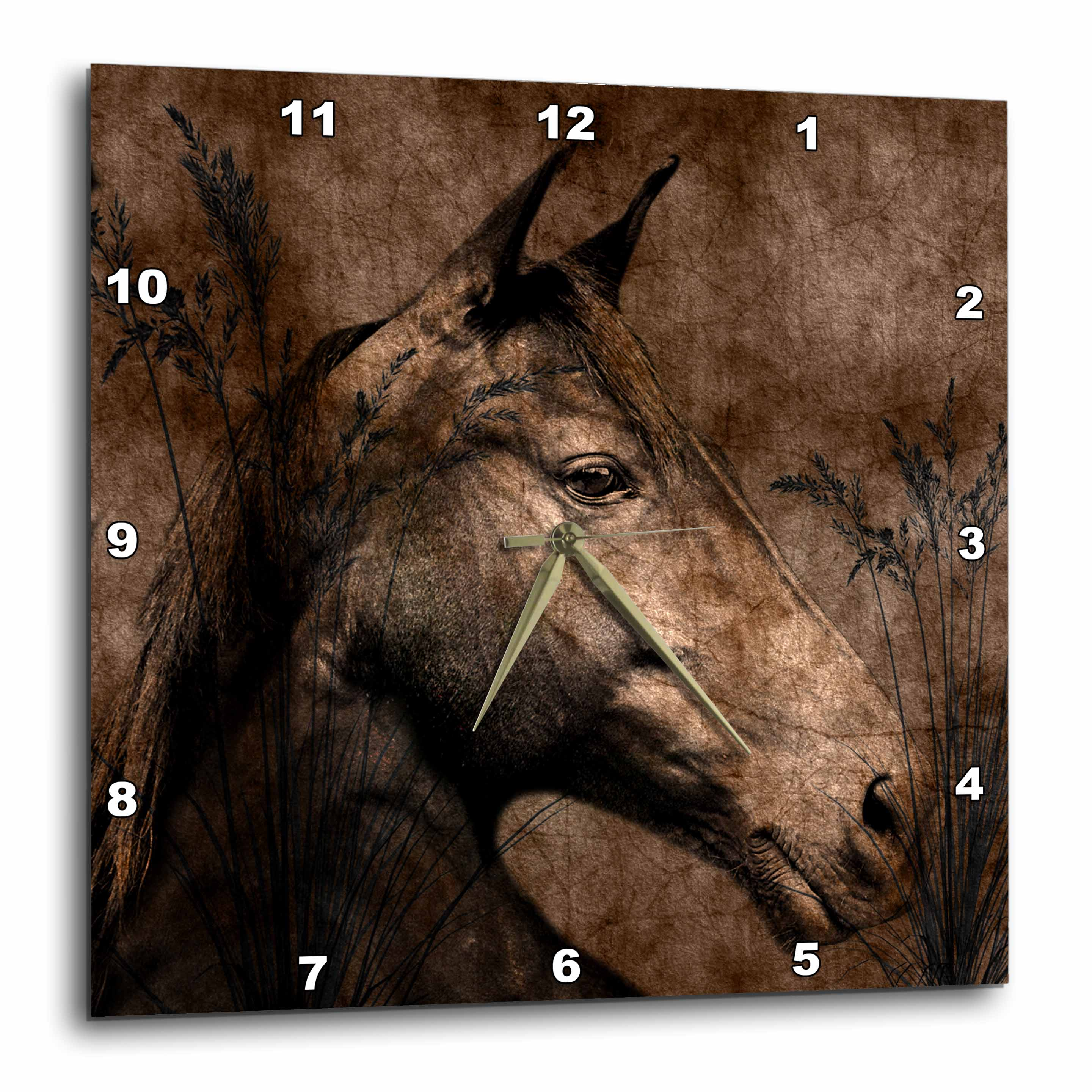 3dRose Horse in the Grass done in Western Brown Grunge and Charcoal., Wall Clock, 13 by 13-inch