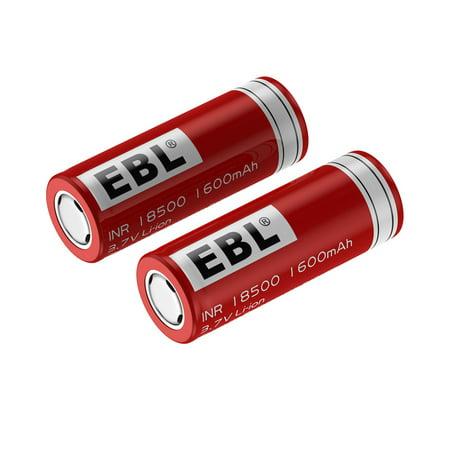 EBL 2-Pack 18500 Battery 3.7V 1600mAh Li-ion Rechargeable Batteries for LED Flashlight