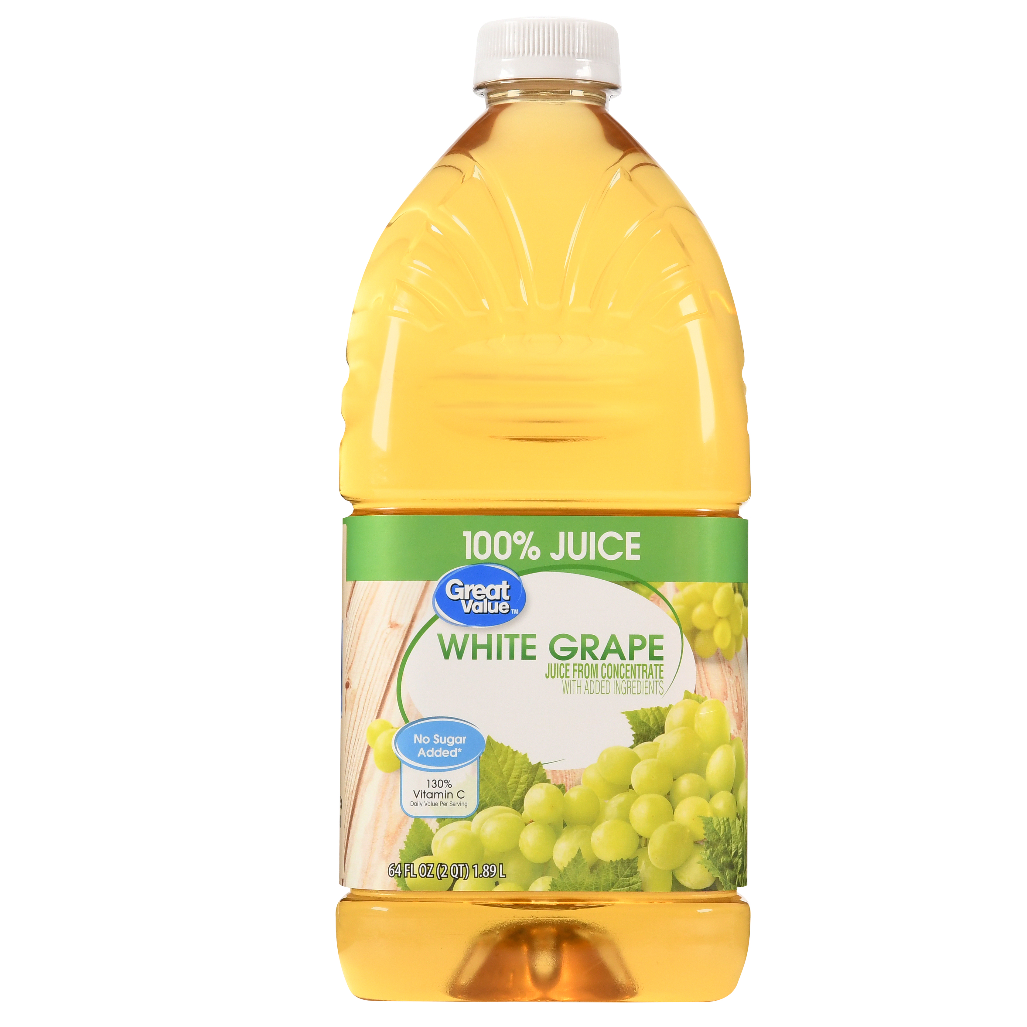 Great Value 100% Juice, White Grape, 64 Fl Oz, 1 Count