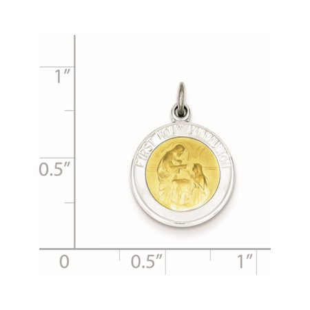 925 Sterling Silver Rhodium-plated & Vermeil Holy Communion Medal - image 1 de 2