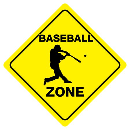 BASEBALL ZONE Funny Novelty Crossing Sign