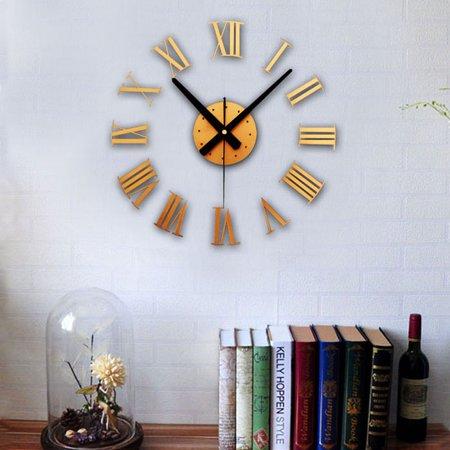 DIY Luxury 3D Wall fashion Clock Large Size Home Decoration Art fashion Clock