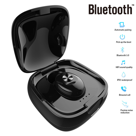 IPX5 Waterproof Headphone. Stereo earbud with microphone. Bluetooth V5.0 headset for Andriod and iPhone Smart Phones - image 3 de 13