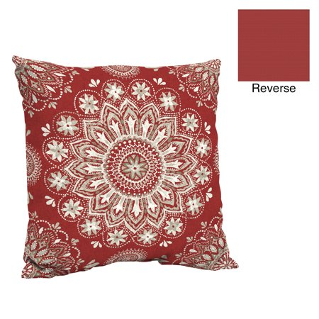 Better Homes & Gardens Red Medallion 24 x 24 in. Outdoor Deep Seat Pillow Back Cushion w EnviroGuard