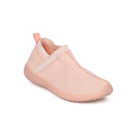 Jogging Shoes Review - New Women Qupid Nacara-06 Knit Fabric Lace Free Jogger Sneaker