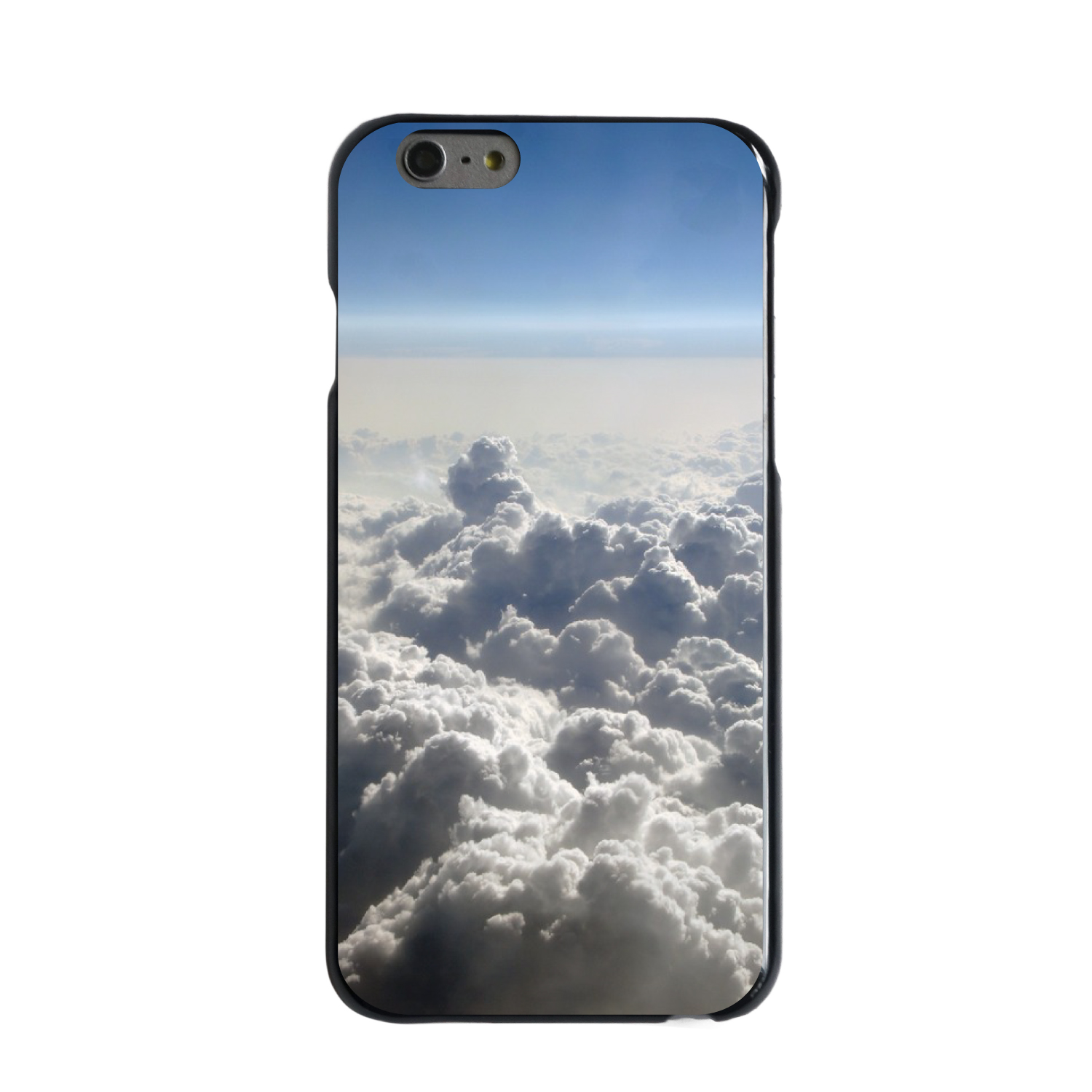 "CUSTOM Black Hard Plastic Snap-On Case for Apple iPhone 6 PLUS / 6S PLUS (5.5"" Screen) - Blue Sky Above Clouds"