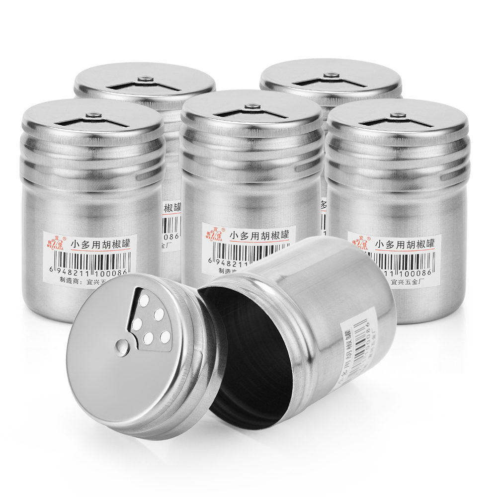 6Pcs Outdoor Camping Stainless Steel Seasoning Cans Salt Sugar Spice Pepper Shaker Bottles with Rotating Cover