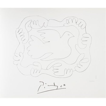Pablo Picasso 2027 Etudes De Mains Et Colombe  44  Lithograph On Paper 29 In  X 22 In    Black  44  White