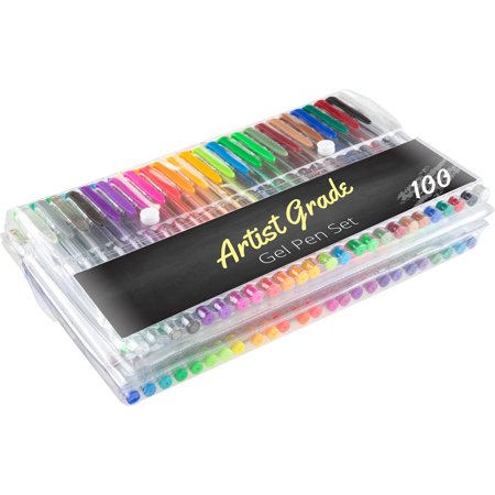 Color Gel Pen Set 100-Count for Adult Coloring Scrapbooking Doodling Comic Animation by Artist Grade (Artist Pens)